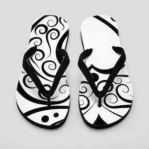 Black Script Owl Flip Flops
