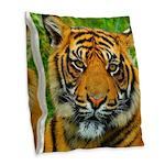 The Last Tiger? Burlap Throw Pillow