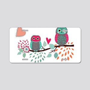 Teal and Pink Owls Aluminum License Plate