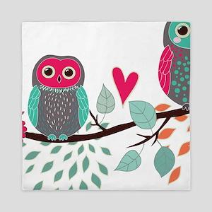 Teal and Pink Owls Queen Duvet