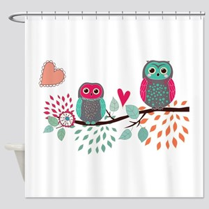 Teal and Pink Owls Shower Curtain