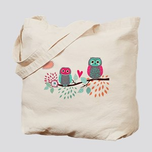 Teal and Pink Owls Tote Bag