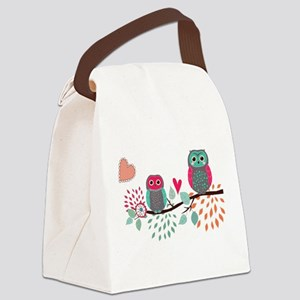 Teal and Pink Owls Canvas Lunch Bag