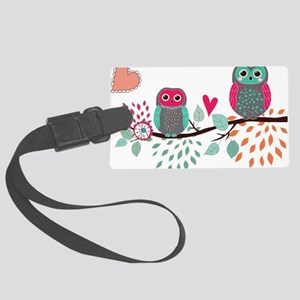 Teal and Pink Owls Luggage Tag
