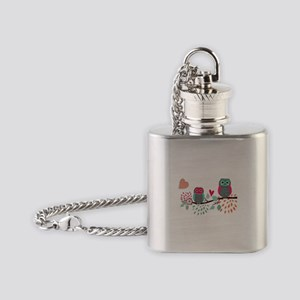 Teal and Pink Owls Flask Necklace
