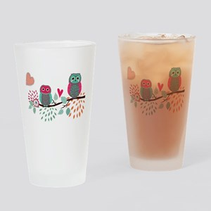 Teal and Pink Owls Drinking Glass
