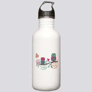 Teal and Pink Owls Water Bottle