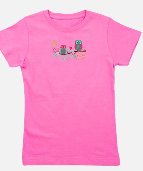 Teal and Pink Owls Girl's Tee
