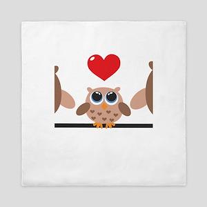Brown Owl Family Queen Duvet
