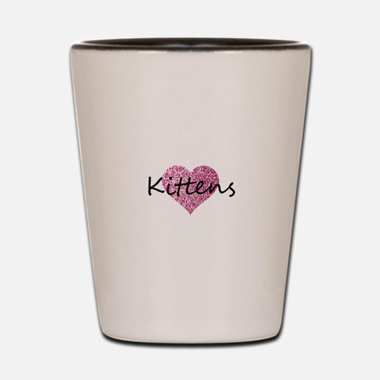kittens pink glitter heart Shot Glass