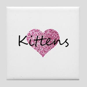 kittens pink glitter heart Tile Coaster