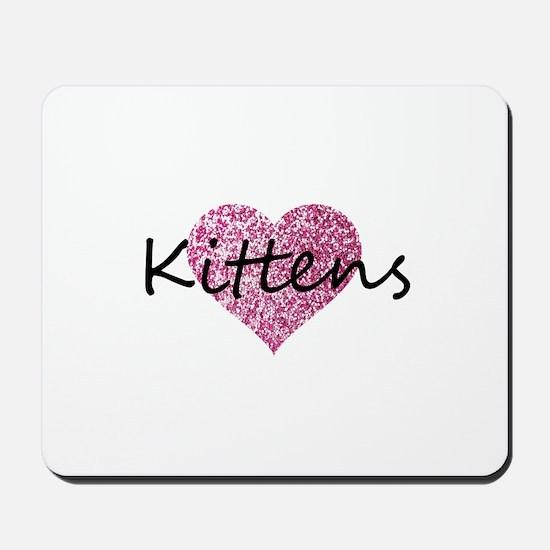 kittens pink glitter heart Mousepad