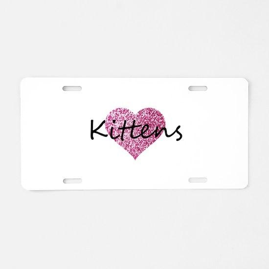 kittens pink glitter heart Aluminum License Plate