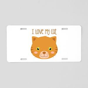 I Love My Cat Aluminum License Plate