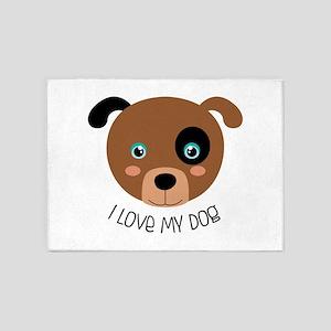I Love My Dog 5'x7'Area Rug