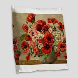 Red Poppy Bouquet Burlap Throw Pillow