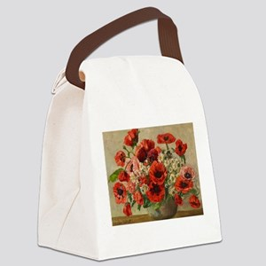 Red Poppy Bouquet Canvas Lunch Bag