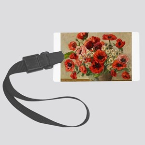Red Poppy Bouquet Luggage Tag