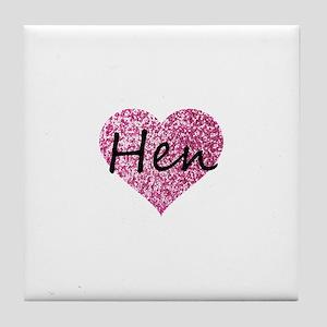 hen pink glitter heart Tile Coaster