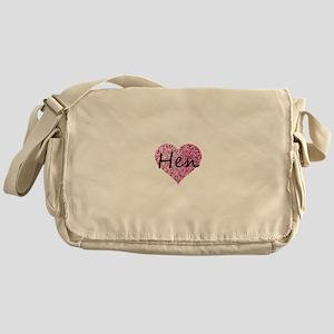 hen pink glitter heart Messenger Bag