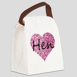 hen pink glitter heart Canvas Lunch Bag