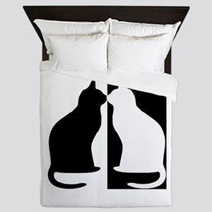 Black And White Cats Queen Duvet