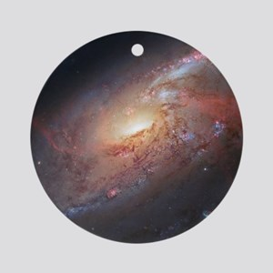 M106 Spiral Galaxy by Hubble Space  Round Ornament
