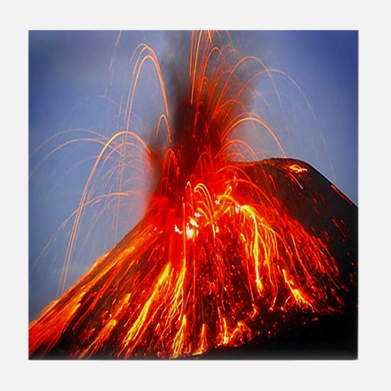 Krakatoa Volcano Hawaii Tile Coaster