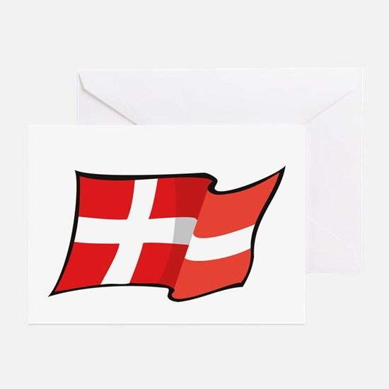 Danish Flag Greeting Cards (Pk of 10)