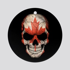 Canadian Flag Skull on Black Ornament (Round)