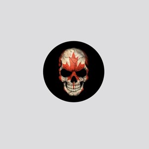 Canadian Flag Skull on Black Mini Button