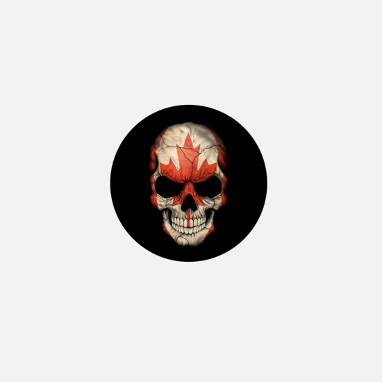 Canadian Flag Skull on Black Mini Button