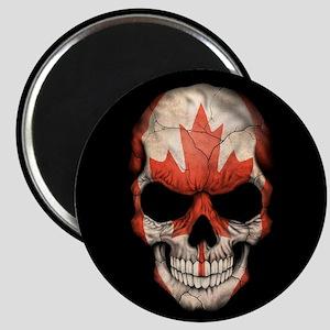 Canadian Flag Skull on Black Magnets