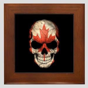 Canadian Flag Skull on Black Framed Tile