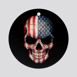 American Flag Skull on Black Ornament (Round)