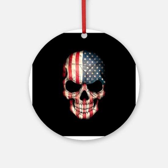 American Flag Skull on Black Ornament (Round)