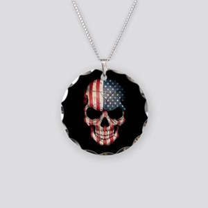 American Flag Skull on Black Necklace Circle Charm