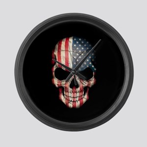American Flag Skull on Black Large Wall Clock