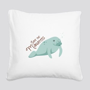 Save The Manatees Square Canvas Pillow
