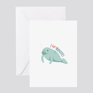 I love Manatees Greeting Cards