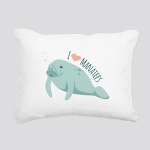 I love Manatees Rectangular Canvas Pillow