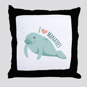 I love Manatees Throw Pillow