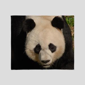 Cute Black and White Panda Face Throw Blanket