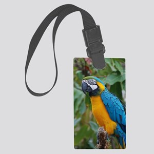 Blue an Gold Macaw on a Branch Large Luggage Tag