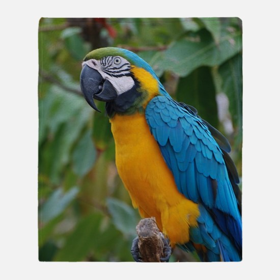 Blue an Gold Macaw on a Branch Throw Blanket