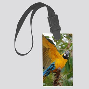 Macaw Parrot with Wings Extended Large Luggage Tag