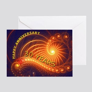 30th anniversary card, swirling lights Greeting Ca