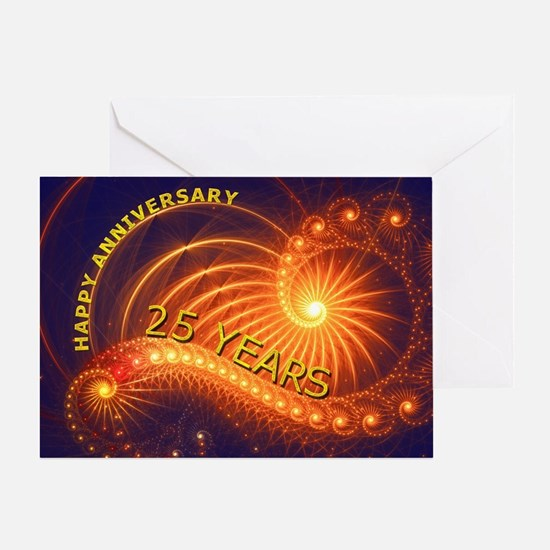 25th anniversary card, swirling lights Greeting Ca