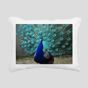 Peacock Plummage Rectangular Canvas Pillow