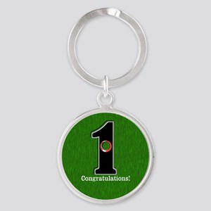 Customized Lucky Golf Hole in One Round Keychain